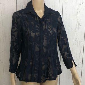 🆕Coldwater Creek Black Tuck Detail Jacquard Shirt